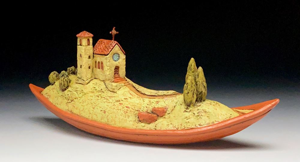 Journey Boat, Yellow Chapel with Red Cedar Cross by Byers & McCurry